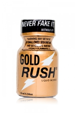Poppers Gold Rush 10 ml : A base de nitrite d'Amyle, c'est le poppers le plus fort du marché (flacon de 10 ml).
