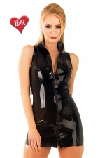 Robe Front Zip Polo latex : Robe zippée col polo en latex haute qualité.